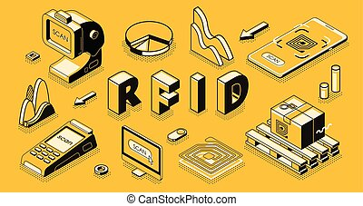 RFID technology isometric vector business concept - Radio...