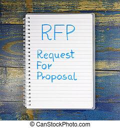rfp-, skriftligt, anteckningsbok, anmodan, förslag