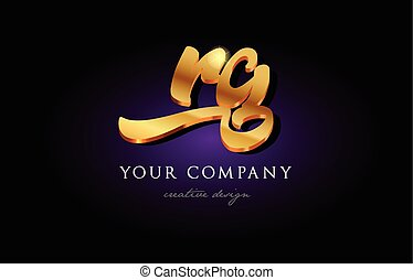 rg  r g 3d gold golden alphabet letter metal logo icon design handwritten typography