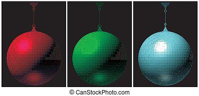 rgb, ボール, 黒い背景, ディスコ