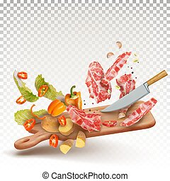 ???????? RGB - 3d vector illustration of cooking meat beef ...