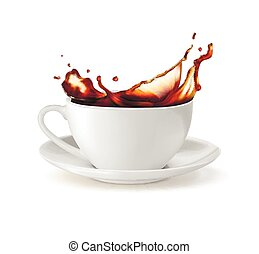 ???????? RGB - A cup with a splash of tea. Vector...