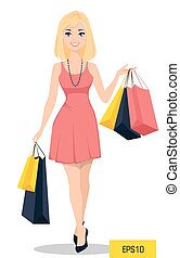 ???????? RGB - Beautiful woman with bags. Attractive cartoon...