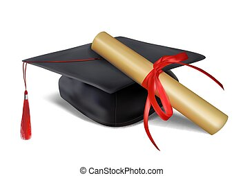 ???????? RGB - Black graduate hat and paper scroll tied with...