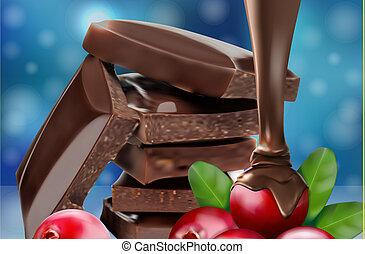 ???????? RGB - Chocolate dessert with cranberries. Vector...