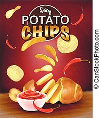 ???????? RGB - Chunks of potatoes. Gold chips with spice....