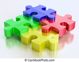 rgb color jigsaw puzzle pieces