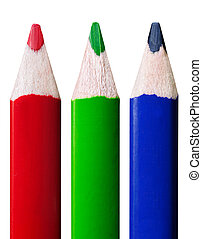 RGB colored pencils - colored pencils in a row, isolated on ...
