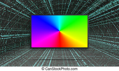 rgb, colorito, condotto, tv, mostra