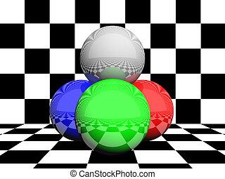 rgb, couleurs, sphères