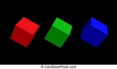 RGB cubes, 3d cubes rotating on top, green cube rotating...