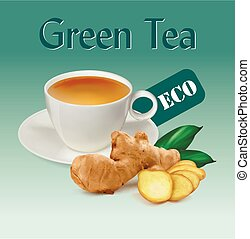 ???????? RGB - cup of ginger tea. Cup with tea, ginger...