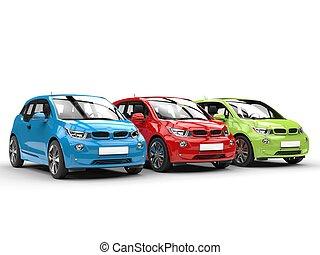rgb, eléctrico, coches, consecutivo
