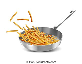 ???????? RGB - French fries in a frying pan over white...