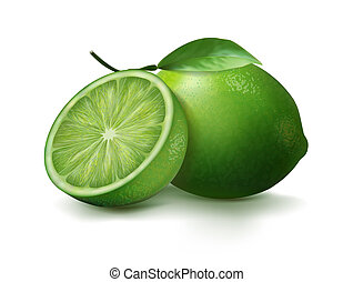 ???????? RGB - Fresh lime and lime slice with leaves. Vector...