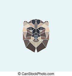 ???????? RGB - Geometric head wolverine. Abstract multicolor...