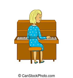 ???????? RGB - Girl playing the piano. Vector illustration.