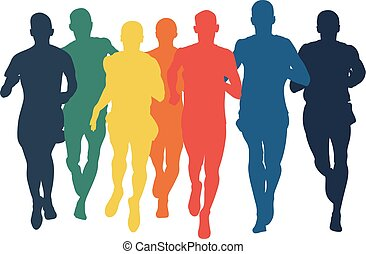 group runners men run colored silhouettes in flat design style