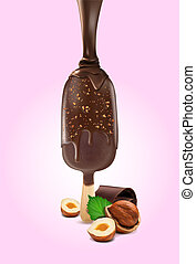 ???????? RGB - Ice cream covered with chocolate sauce with...