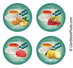 ???????? RGB - Label design concept for green tea. Vector...