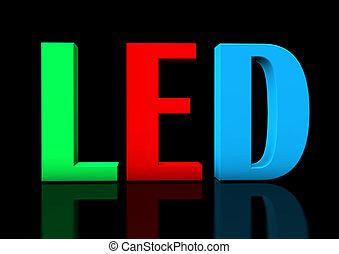 "RGB LED - Colorful text ""LED"" on the black background."