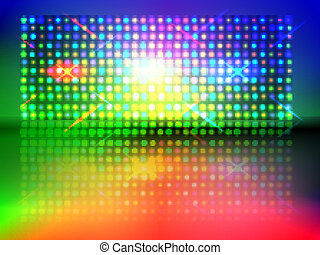 rgb lights - vector rgb light wall with floor reflection, ...