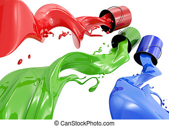 Definition of RGB color system. Three colors in the form of liquid on a white background.
