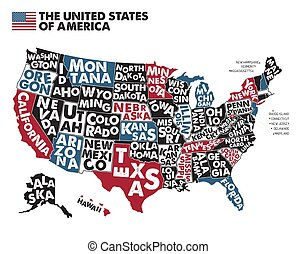 RGB - Poster map of United States of America with state ...