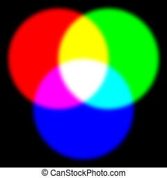 rgb - Primary red, green, and blue colors with yellow, ...