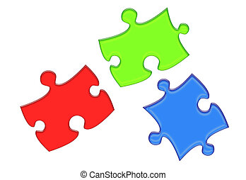 RGB Puzzle Pieces - Red, Green and Blue Puzzle Piece