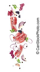 ???????? RGB - Raw pork bacon flies with red onion, purple ...