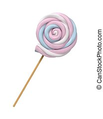 ???????? RGB - Realistic Marshmallows Candy Vector. Spiral...
