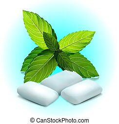 ???????? RGB - Realistic mint gum and green leaves on blue...