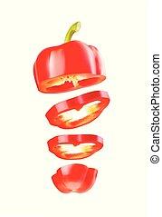 ???????? RGB - Red bell pepper sliced in rings, flying in...