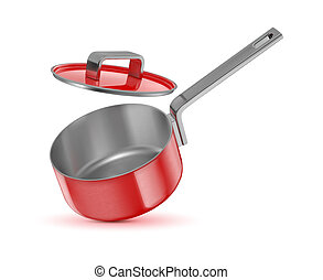???????? RGB - red saucepan with lid on white background