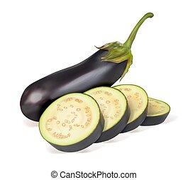 ???????? RGB - Ripe eggplant. Whole vegetables and sliced ...