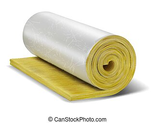 Roll of insulation wool. Vector illustration.