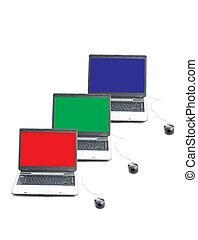 RGB screen in three laptops