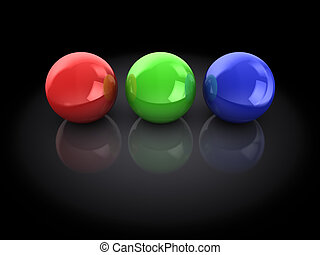 rgb spheres - 3d illustration of three spheres, red, green ...