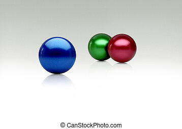 rgb spheres - colored spheres on a white shaded limbo