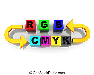 rgb to cmyk conversion - 3d illustration of rgb and cmyk...