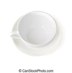 ???????? RGB - Top view of a white cup with saucer. Empty...