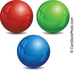 rgb, vector, spheres., ilustración
