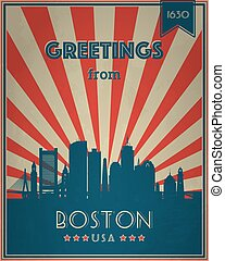 ???????? RGB - Vintage Touristic Greeting Card - Boston, ...