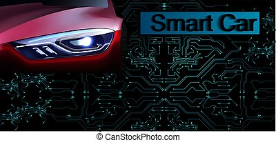RGBSmart or intelligent car vector concept. Futuristic automotive technology with autonomous driving, driverless cars. Eps10