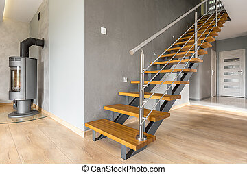 h lzern wohnung treppe luxus holztreppe wohnung stockfotos suche fotografien clipart. Black Bedroom Furniture Sets. Home Design Ideas