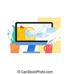 rgeöffnete, briefkasten, mit, rote markierung, und, ankommend, briefe, fliegendes, heraus, von, edv, textanzeige, topfpflanze, und, dämpfen, cup., begriff, von, e-mail, post, benutzer, agent, oder, inbox, nachricht, service., wohnung, vektor, illustration.