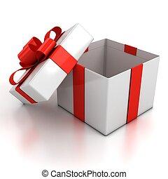 rgeöffnete, geschenkschachtel, aus, weißer hintergrund