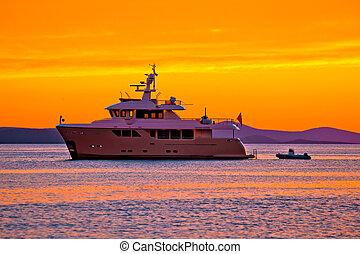 rgeöffnete, goldenes, yacht, sonnenuntergang, meer