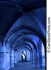 rgeöffnete, hofburg, tür, mittelalterlich, korridor